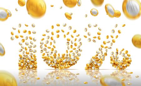 filling: 10 percent made of coins filling letters. 3D illustration