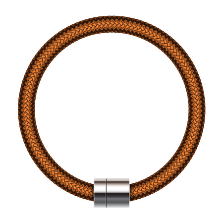 braided: Vector realistic illustration of fashion brown leather male braided bracelet Illustration