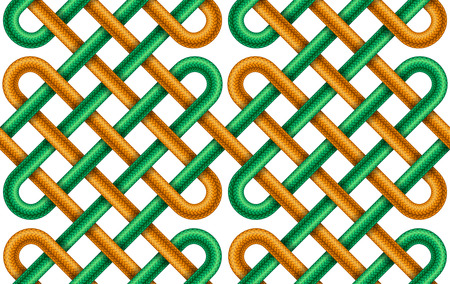 Vector seamless pattern of  intersected green and orange braided cords Illustration