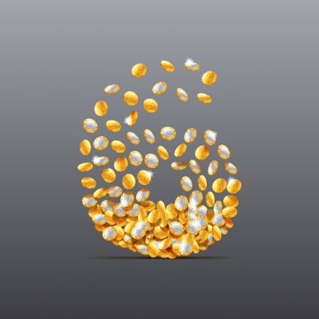 filling: Vector number six made of coins filling character. Easy to edit Illustration