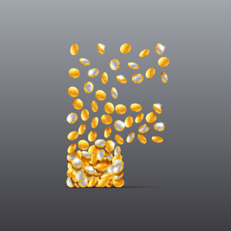 filling: Vector letter F made of coins filling character. Easy to edit Illustration