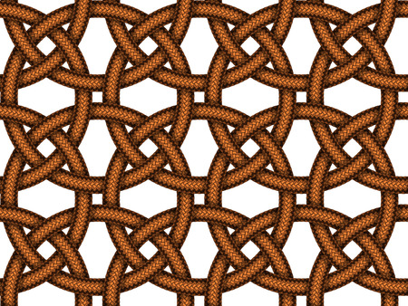 cords: Vector seamless pattern of  intersected brown leather braided cords
