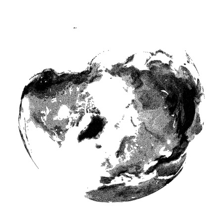 physical geography: Globe with continental relief - vector stippled illustration. Views of North Pole