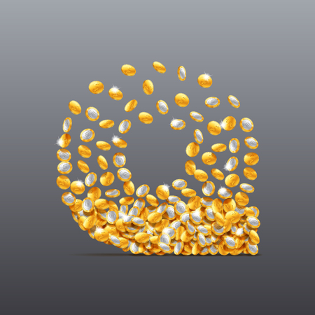 Vector letter Q made of coins filling character. Easy to edit Illustration