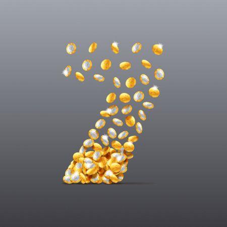 filling: Vector number seven made of coins filling character. Easy to edit