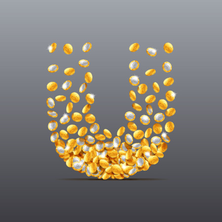 filling: Vector letter U made of coins filling character. Easy to edit