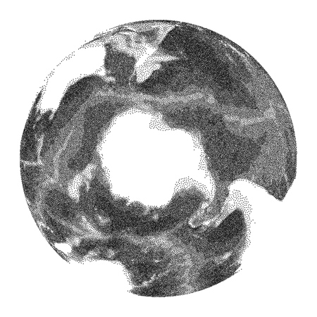 Globe with world ocean relief - vector stippled illustration. Views of South Pole