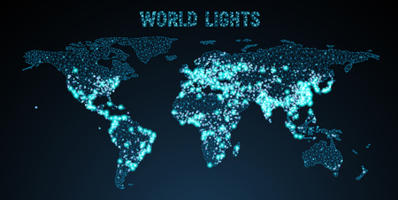 Vector low-poly image of a global map with lights in the form of world cities or population density, consisting points and shapes in the form of stars and space. Wireframe concept of the world network