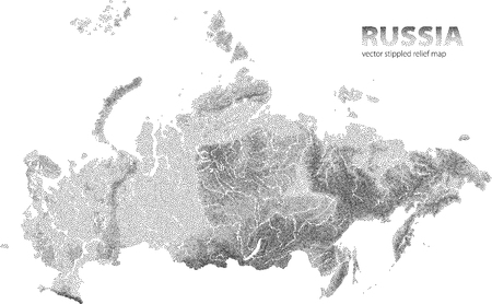 Vector stippled relief map of Russia