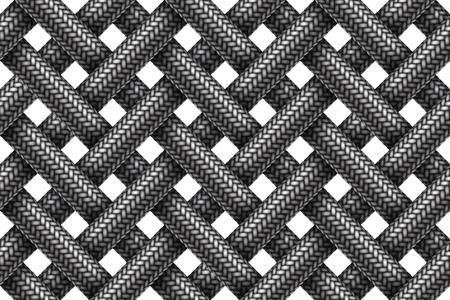 Vector seamless decorative pattern of intersecting fabric braided cords. Ilustração