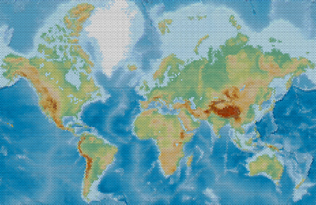 World physical vector map stylized using circles on a black background. Colored according to relief