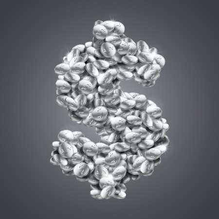 Vector dollar symbol made of huge amount of shiny silver coins.