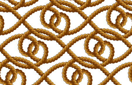Rope vector seamless pattern on white background