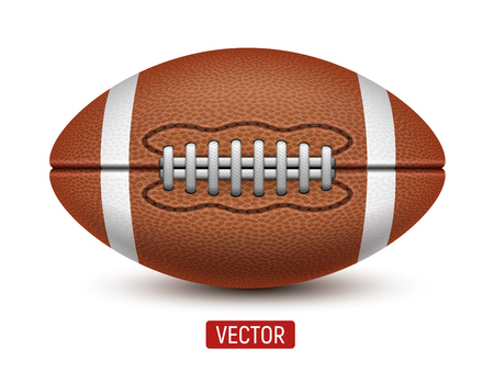 Vector American Football ball on a white background. Realistic illustration. Rugby sport.