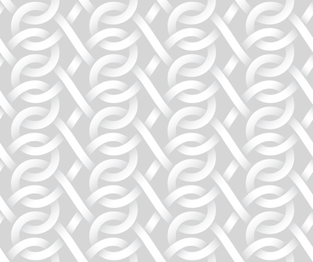 Vector seamless decorative pattern of intertwine bands. White texture.
