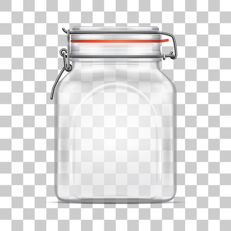 airtight: Vector empty Bale Square Glass Jar with Swing Top Lid isolated on transparent background. Realistic illustration.
