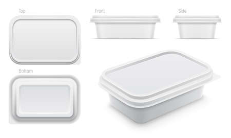 Vector white container for butter, melted cheese or margarine spread. Illustration