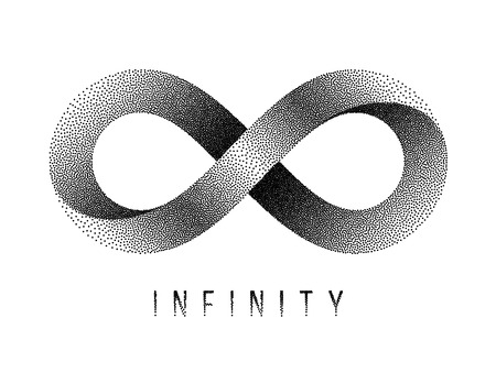 Stippled Infinity sign. Mobius strip symbol. Vector textured illustration on white background.