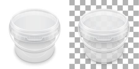 Benna di plastica vuota trasparente per lo stoccaggio di alimenti, miele o gelati.