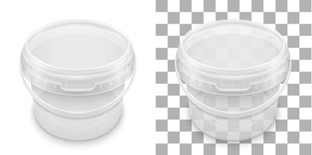 Transparent empty plastic bucket for storage of food, honey or ice cream.