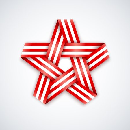 Star made of interlaced ribbon with american flag stripes. Vector illustration for USA national holidays.