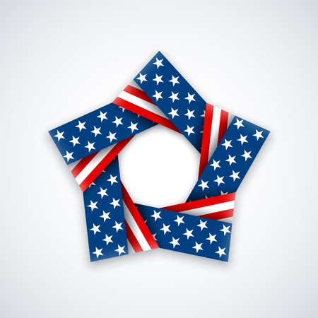 Star made of double ribbon with american flag colors and symbols. Vector illustration for USA national holidays.