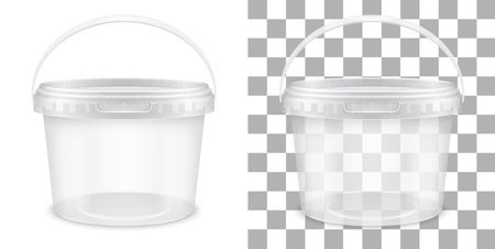 Transparent empty plastic bucket for storage of food or non-food products. Front view. Vector packaging template illustration.