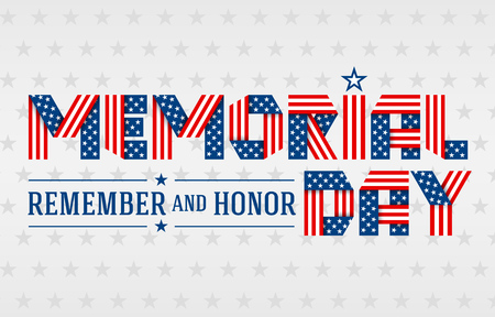 US Memorial Day greeting card. Text made of interlaced ribbons with USA flags stars and stripes. Vector illustration. Illustration