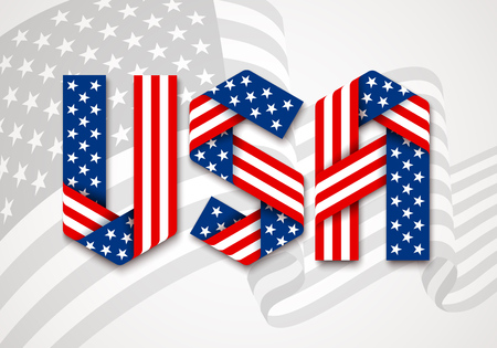 USA. United States of America Graphic Logo. Letters made of interlaced ribbons with American flag's stars and stripes. Vector illustration. Иллюстрация