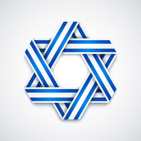 Star of David made of interlaced ribbon with Israel flag stripes. Vector illustration for Israel national holidays. Illustration