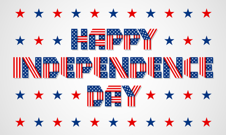 nationalism: Happy Independence Day banner. Lettering made of interlaced ribbons with USA flags stars and stripes. Vector illustration.