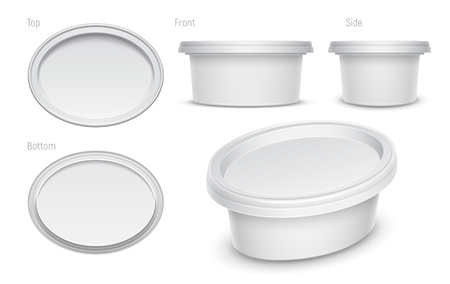 White oval container for cosmetics cream, butter or margarine spread.