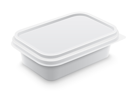 Vector white square container for butter, melted cheese or margarine spread. Perspective view isolated over the white background. Packaging template illustration.