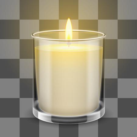 Candela in un vaso di vetro diritto. Illustrazione realistica vettoriale isolato su sfondo trasparente. Vettoriali