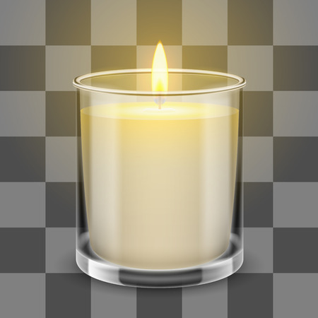 Candle light in a straight glass jar. Vector realistic illustration isolated on transparent background. Illustration