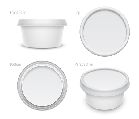 Vector white round container for cosmetics cream, butter or margarine spread. Top, bottom, front and perspective views isolated over the white background. Packaging template illustration.