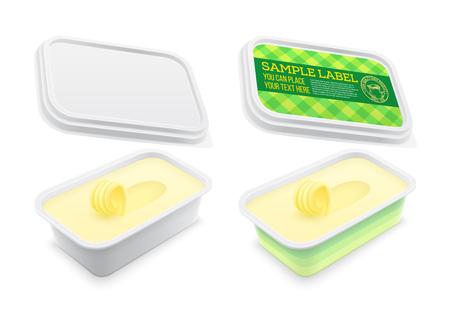 Contenitore quadrato di plastica con etichetta vettoriale con burro, formaggio fuso o margarina all'interno. Mockup isolato su sfondo bianco. Illustrazione del modello di imballaggio.