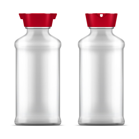Vector empty glass soy sauce bottle isolated on white background. Realistic illustration.