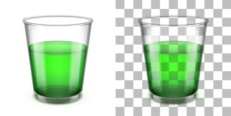 glass reflection: Wider top glass tumbler with a sloped sides and a thick base for various drinks isolated on white and transparent backgrounds. Realistic vector illustration.