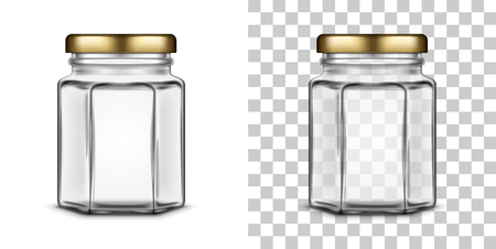 A Vector empty hexagonal glass jar for honey with a metal screw cap lid isolated over white and transparent backgrounds. Realistic illustration.