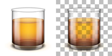 Klassieke glazen beker met rechte zijden en een dikke basis voor verschillende drankjes geïsoleerd op witte en transparante achtergronden. Realistische vectorillustratie. Stock Illustratie
