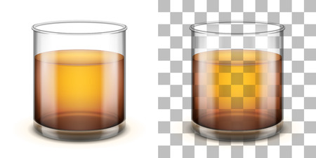 Classic glass tumbler with straight sides and a thick base for various drinks isolated on white and transparent backgrounds. Realistic vector illustration.