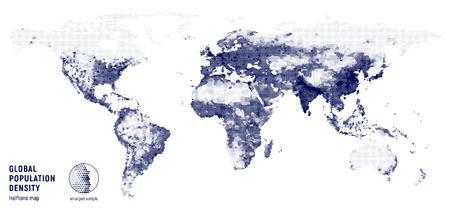 白い背景の上の世界の人口密度のベクトル ハーフトーン マップ。