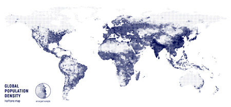 A Vector halftone map of global population density on a white background. Vectores