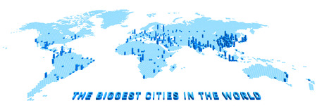 最大都市の人口に従って上昇と六角形を使用して様式化されたベクトル世界地図。白の背景に 3 d のインフォ グラフィック イラスト。  イラスト・ベクター素材