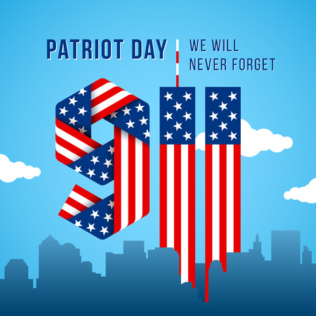 USA 9.11 Patriot Day greeting card. Digits made of ribbons with American flags stars and stripes. Vector remembrance illustration.
