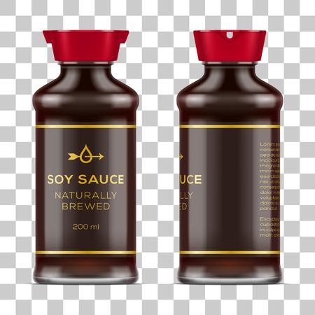 De vector geëtiketteerde volledige die fles van de glassojasaus op transparante achtergrond wordt geïsoleerd. Realistische mockup illustratie.