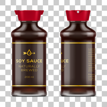 Vector labeled full glass soy sauce bottle isolated on transparent background. Realistic mockup illustration. Иллюстрация