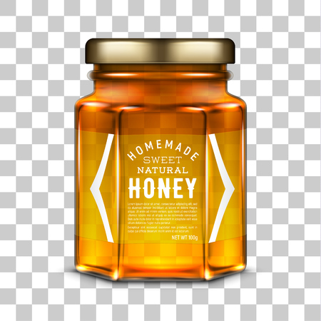 Vector labeled hexagonal glass jar with honey and metal screw cap lid. Realistic template illustration isolated over transparent background.