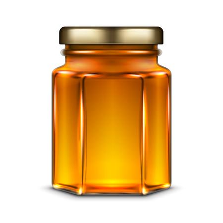 Pot de verre hexagonal vecteur avec couvercle de bouchon à vis de miel et de métal. Illustration de modèle réaliste isolé sur fond blanc. Banque d'images - 84347959